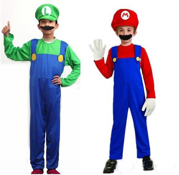 Compre Disfraces De Halloween Cosplay Super Mario Luigi Brothers Disfraz  Fiesta De Disfraces Lindos Para Niños 2 Tamaño De Color S XL A  10.66 Del  ... b1b402bb06a
