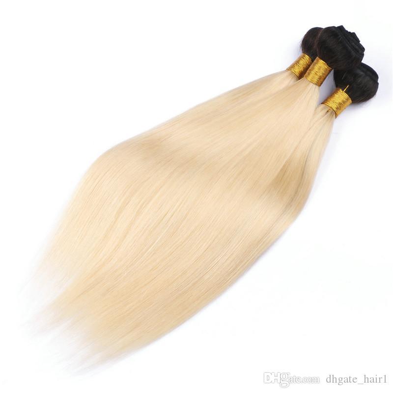 Bakire Perulu Sarışın Ombre İnsan Saç 3 Adet Düz Iki Ton Ombre Örgü Demetleri 1B / 613 Koyu Kök Ombre İnsan Saç Uzantıları Çift ...