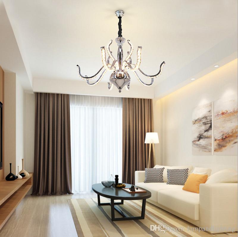 Modern luxury chrome aluminium 88W LED chandelier K9 crystal penant lights lustre de cristal indoor lighting fixture for dinning living room