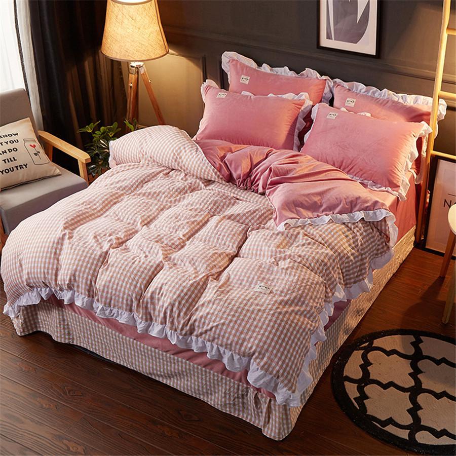 Großhandel Red Plaid Bettwäsche Sets 100 Gewaschen Baumwolle
