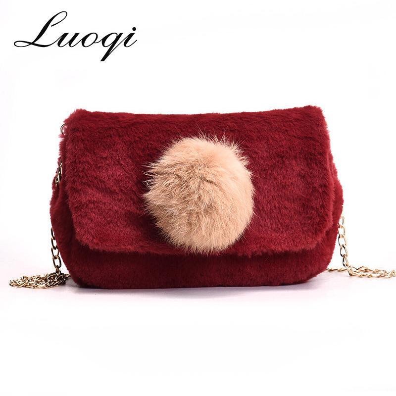 692893eb2f3f Cute Fur Bags for Women 2018 Chain Messenger Bag Women s Shoulder Bag  Panelled Handbag Small Flap for Teenager Girl Winter Bolsa Shoulder Bags  Cheap ...