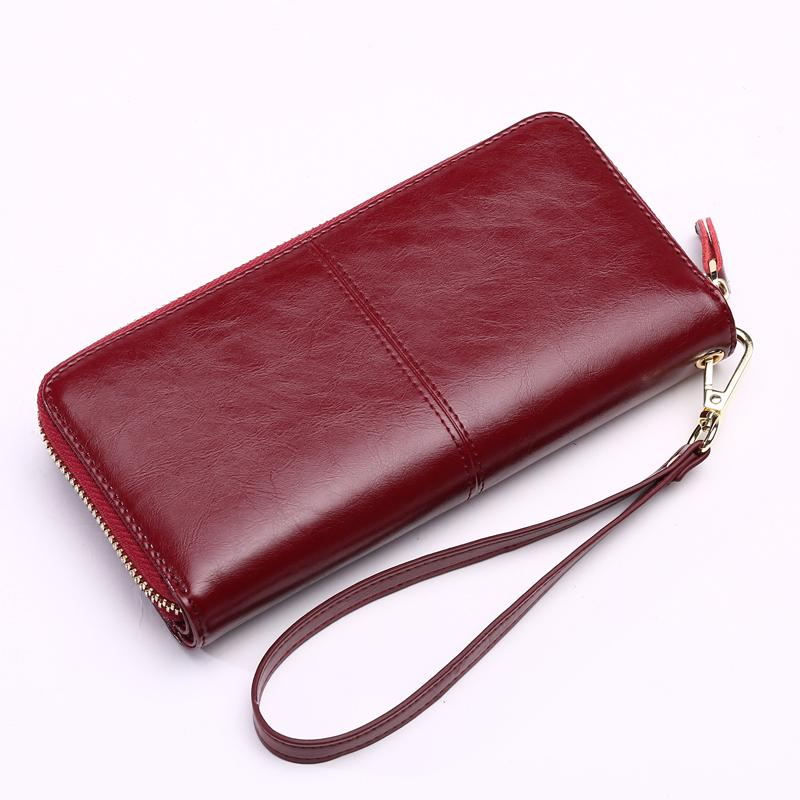 OTHERCHIC Large Cowhide Leather Women Wallets Fashion Long Female Wallet Solid Woman Women Purses Zipper Purse for iphone Galaxy