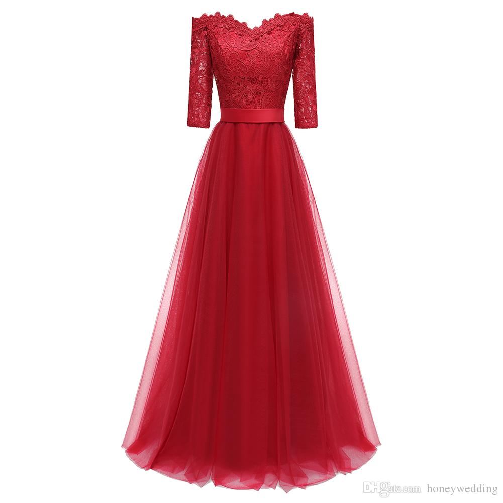 Long Prom Dresses 2018 Wine Red 3 4 Sleeves Formal Dresses Evening Wear  Womens Party Prom Gowns Fall Winter Special Occasion Dress Mermaid Prom  Dresses ... b68796b9fba9