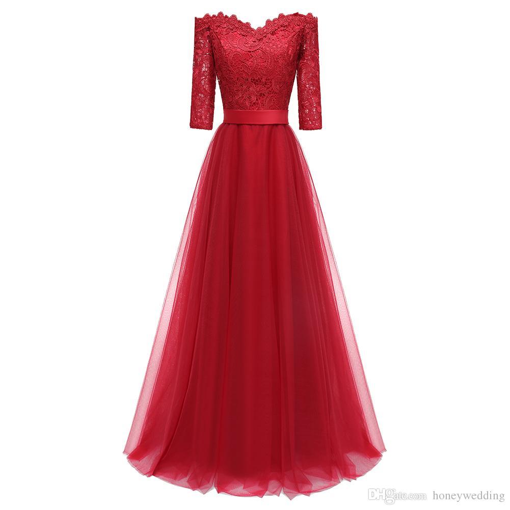 cf158baad Compre Vestidos De Fiesta Largos 2018 Rojo Vino 3 4 Mangas Vestidos De Noche  Vestidos De Fiesta Para Mujeres Vestidos De Fiesta Otoño   Invierno  Ocasiones ...