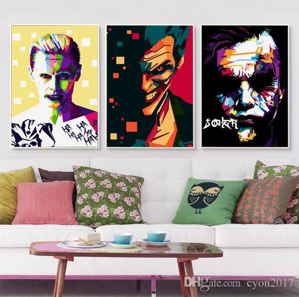 Popigist Abstract Movie Batman Joker Portrait A4 Canvas Art Painting Print Poster Picture Wall Kids Room Home Decorative Mural