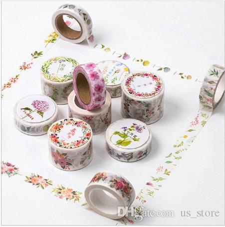 12 Styles Flower Edges Washi Tape Paper Cute Floral Printed Adhesive Tape DIY Decorative Border Scrapbooking Masking Tape 2016