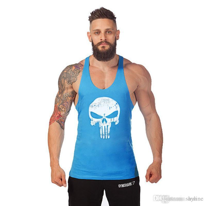 6677b1efd8198 2019 Wholesale The Punisher Vintage Bodybuilding Stringer Tank Top Men  Singlet Fitness Sleeveless Workout Vest Cotton Sportwear Y BACK Racer From  Sayline
