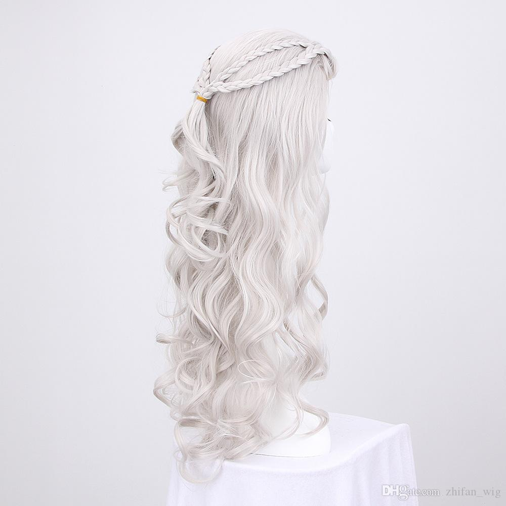 Z&F 28 inch Game of Thrones Cosplay Mother of Dragons Cosplay Wig Daenerys Wig White Silver Long Wave Wigs Hair Costume