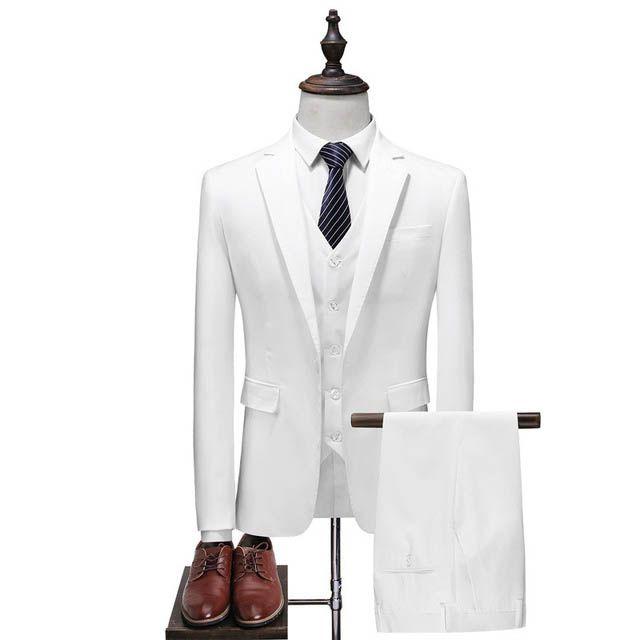 Compre Chaqueta + Chaleco + Pantalones 2018 Trajes Para Hombres Negocios  Casual Hombres Traje Casual Hombre Blanco   Azul   Azul Trajes De Novio No  Más De ... ac6c7c09c3c