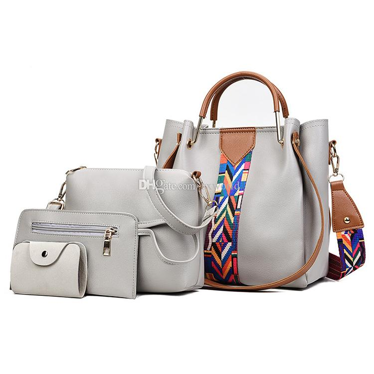 5d801cb29905 Light Grey Fashion Coloured Ribbon 4 In 1 Shoulder Messenger Ladies Hand  Bags Sets Cheap Bags Cheap Designer Bags From Sxworld