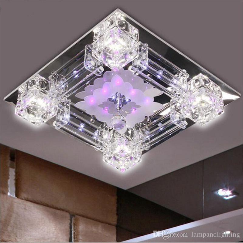 현대 광장 42cm 크리스탈 유리 LED 천장 조명 일시 중단 램프 110V 220V luminare 침실 거실 장식