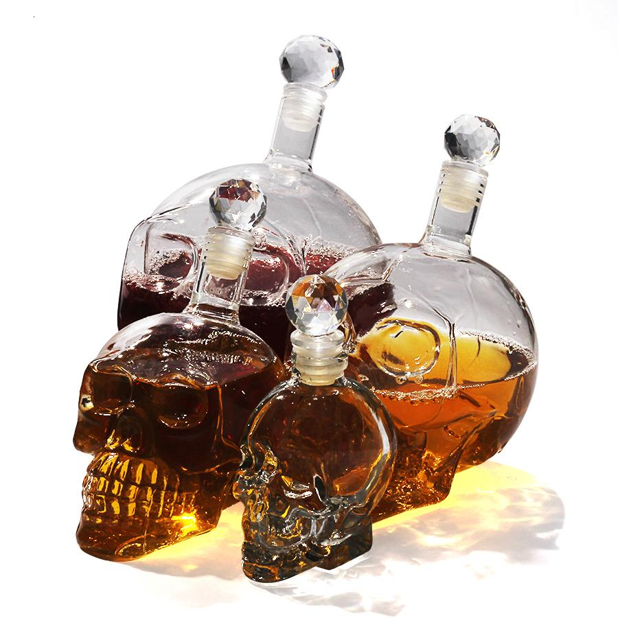 350 /550 /1000ml Creative Skull Head Whiskey Vodka Wine Decanter Bottle Whisky Glass Beer Spirits Cup Water Glass Bar Tool