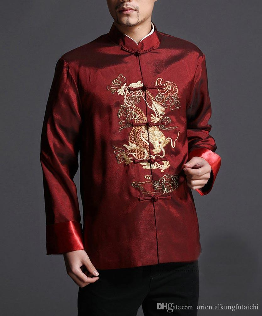 a9729014d7a25 2019 Stylish Red Kung Fu Men S Blazer Padded Jacket Dragon Shirt 100% Silk   101 From Orientalkungfutaichi