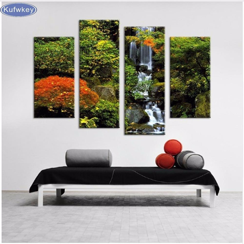 3pcs 5d Diy Diamond Painting Waterfall Landscape 3d Diamond Embroidery Round/square Mosaic Modern Triptych Home Decoration Gifts Home & Garden Needle Arts & Crafts