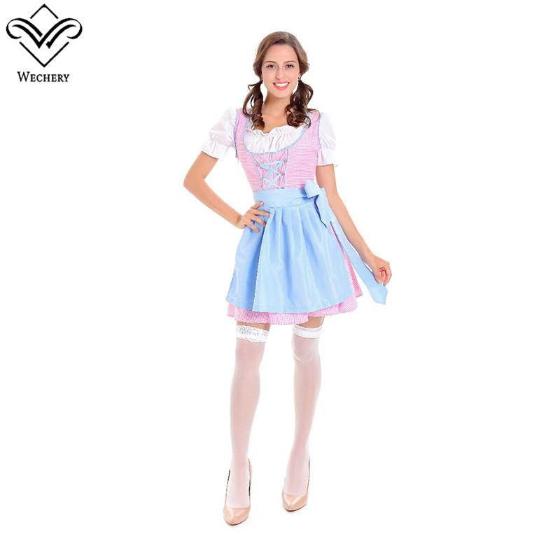 Women Farmer Country Girl Cosplay Dress Fantasia Halloween Holiday