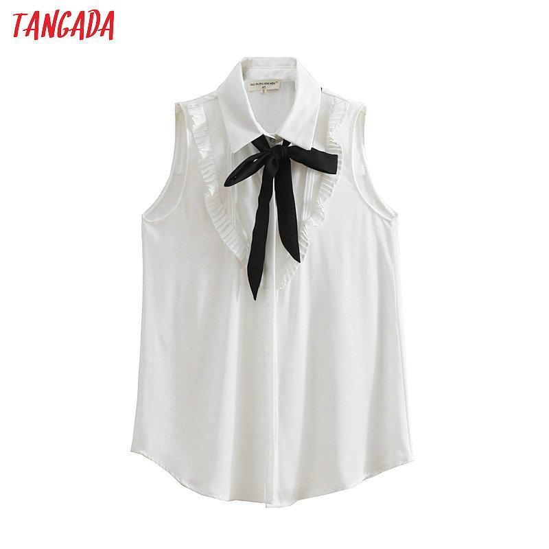 a37d4564d5262 Tangada Summer Tops for Women 2018 Shirt Bow Tie Ruffles Sleeveless ...