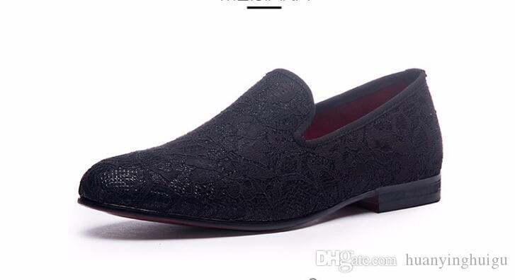 2018 estilo caliente estilo británico de ante hombres mocasines con negro banquete de boda de los hombres zapatos casuales algunas zapatillas de hombres zapatillas Slip On Trend Shoes N24