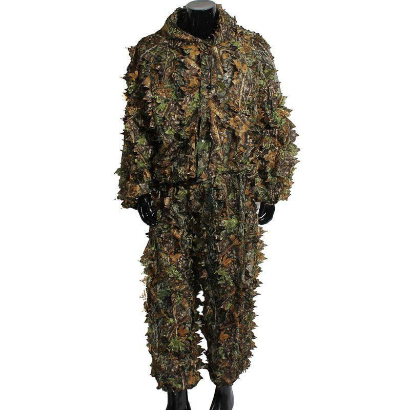 Hunting Ghillie Suits Set Latest 3D Maple Leaf Printed Linen Hunting Clothes Laser Stereo Version jacket and pants
