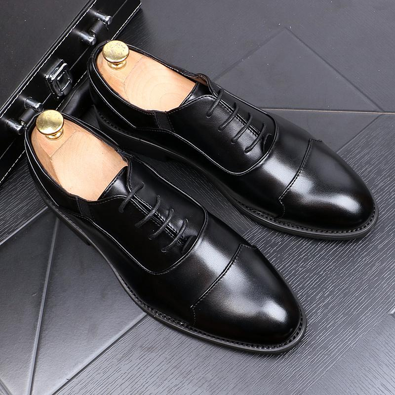 Shoes Leather Shoes Male Korean Black Trend Summer Breathable Flower Color Pointed Wild Leather British Mens Business Casual Latest Fashion Formal Shoes