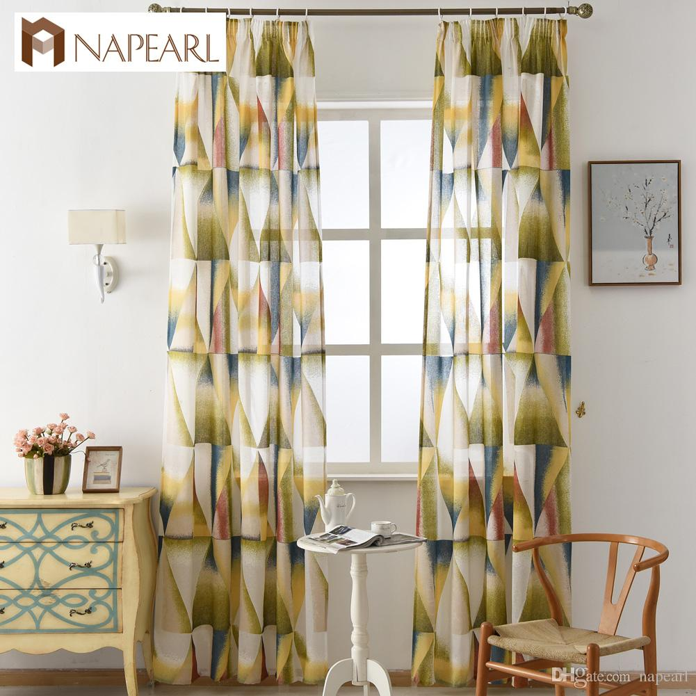 2018 napearl modern curtain semi sheer fabrics burnout kitchen door curtains balcony short curtains living room geometric design from napearl
