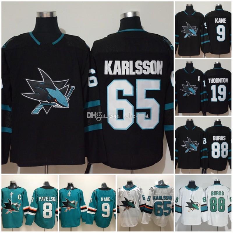 c14b2ed8a San Jose Sharks Jersey Hockey 8 Joe Pavelski 65 Erik Karlsson 19 Joe ...