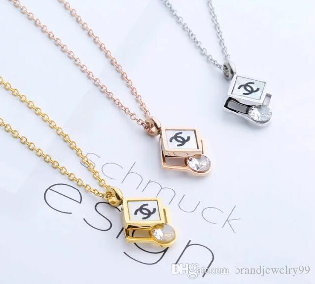 d1b093e8731f6 New Arrive Geometry Square Crystal Pendant Necklace 3 Colors Steel Titanium  Letters Logo Clavicle Chain Women Girl Charm Jewelry Accessories