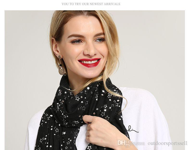 Spring and autumn style hot silver Pentagram Star printing scarf style European and American street 7 colours
