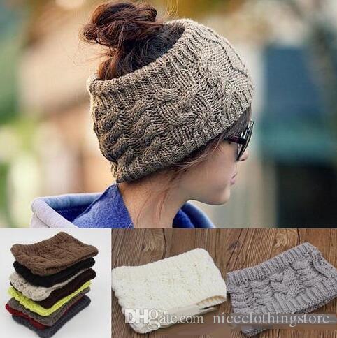 Women Wide Crochet Headband Hot Winter Messy Bun Empty Wool Hats Womens  Wool Caps Wide Headbands Ladies Hats Beanies Ear Warmer Women Hats Cool  Beanies From ... 2875f597c02