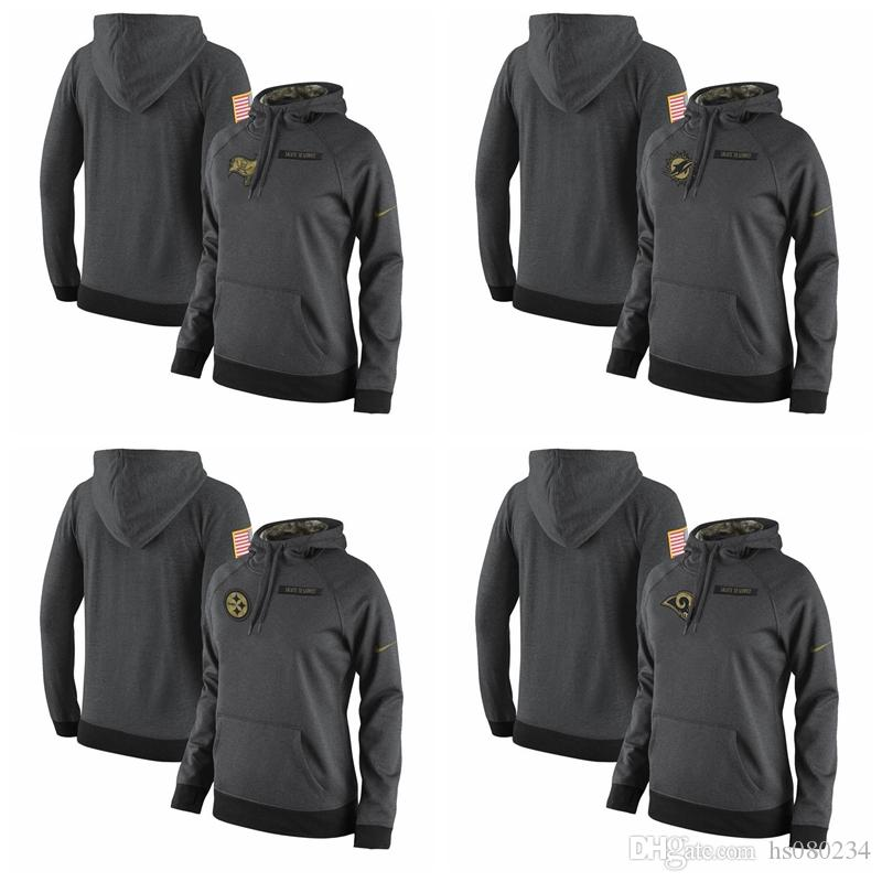2019 Women S Pittsburgh Steelers Los Angeles Rams Tampa Bay Buccaneers  Miami Dolphins Salute To Service 2017 Therma FIT Performance Gray Hoodie  From ... e65310188