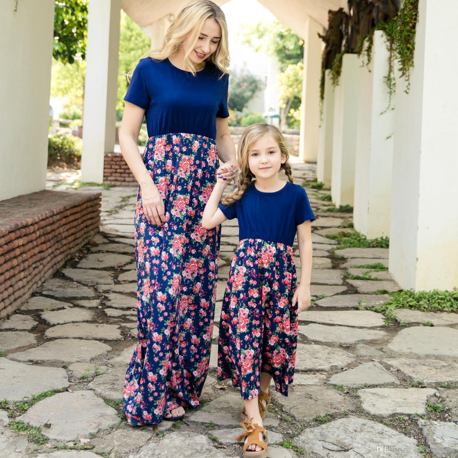 9b9ab2c92987 2019 Family Matching Clothing Mother And Daughter Flower Dresses ...