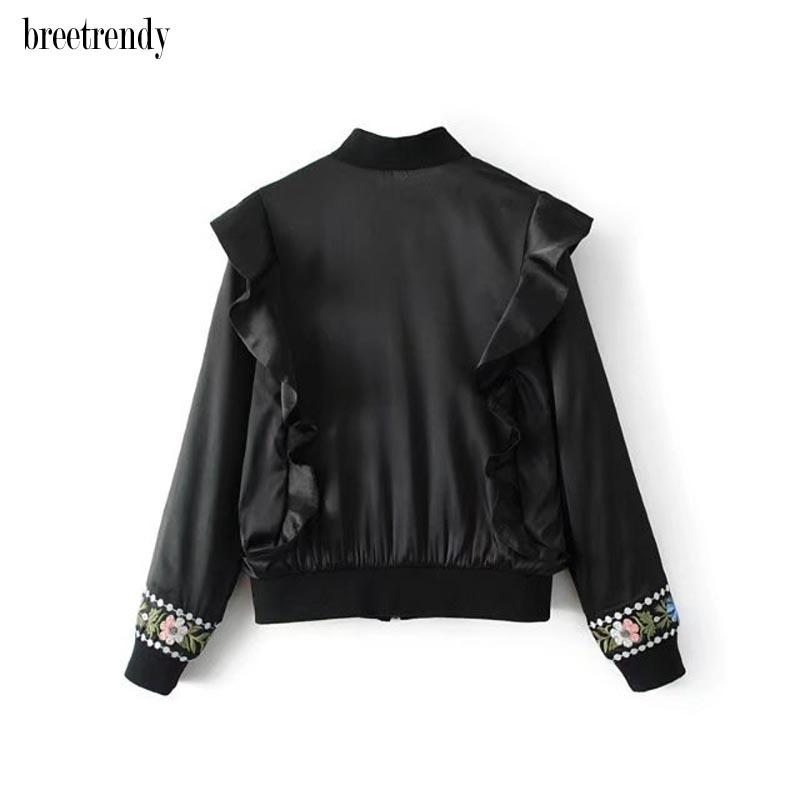 H836fashion women autumn winter black color gorgeous floral embroidery ruffles deco long sleeve casual jacket outwear coat tops