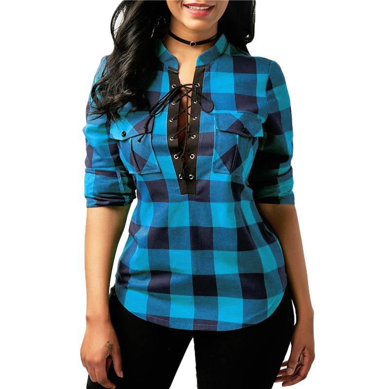 2969026b627 Women Plaid Shirts 2018 Spring Long Sleeve Blouses Shirt Office Lady Cotton  Lace Up Shirt Tunic Casual Tops Plus Size Blusas Blouses   Shirts Cheap  Blouses ...
