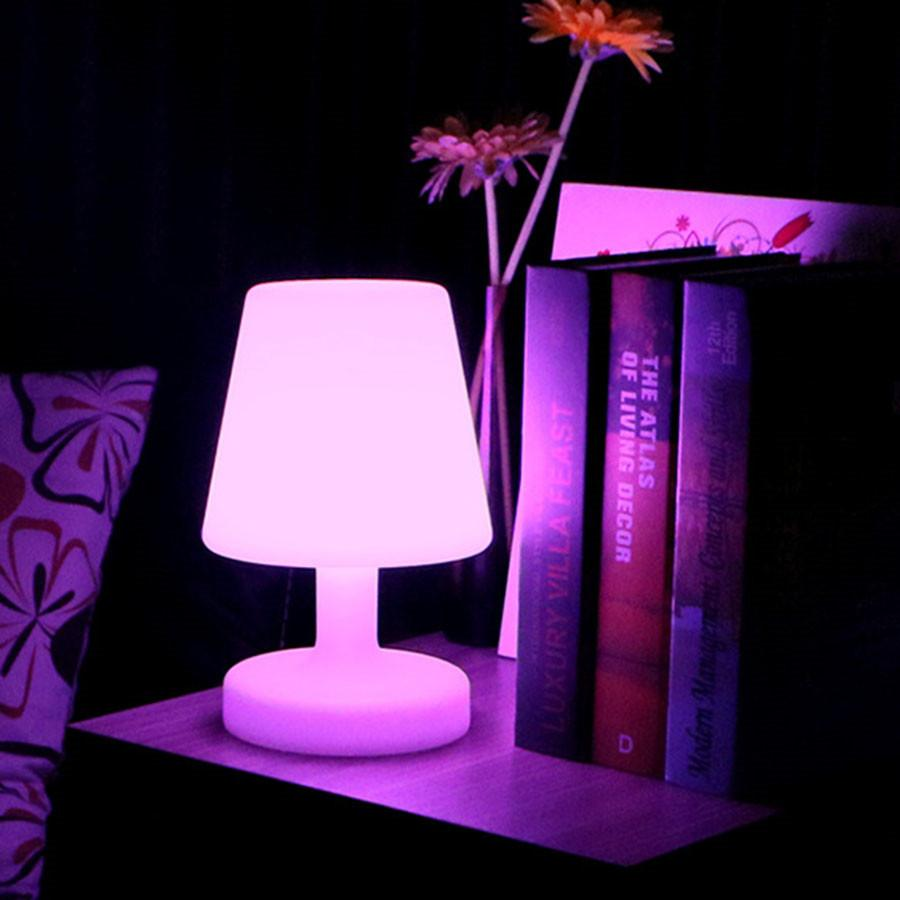 Thrisdar RGB LED Bedside Table Light USB Rechargeable LED Illuminated KTV Hotel Restuarant Bar Table Lamp