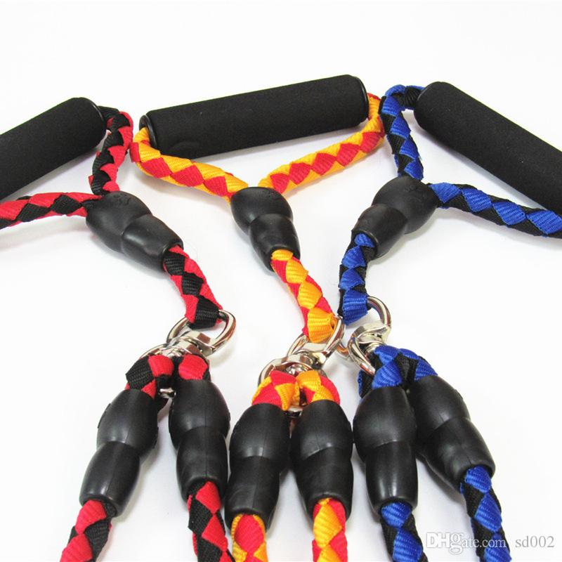 Double Pet Hauling Cable Durable Nylon Weave Traction Rope With Alloy Buckle Soft Handle Dog Leashes Colorful 20cx Y
