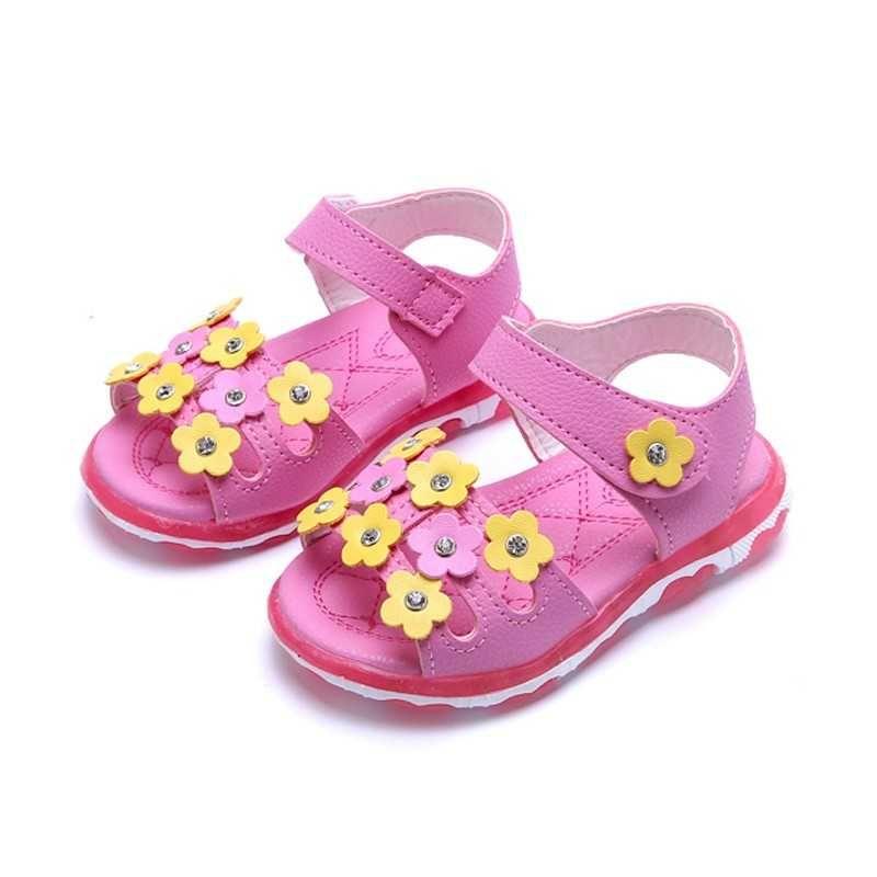 Children S Shiny Lights Shoes Girls Flowers Sandals Girls Princess Shoe  Anti Slip Soft Bottom Beach Shoe For Kid 2018 Summer  23 Kids Shoes And  Sandals Kids ... 1a198b3bad40