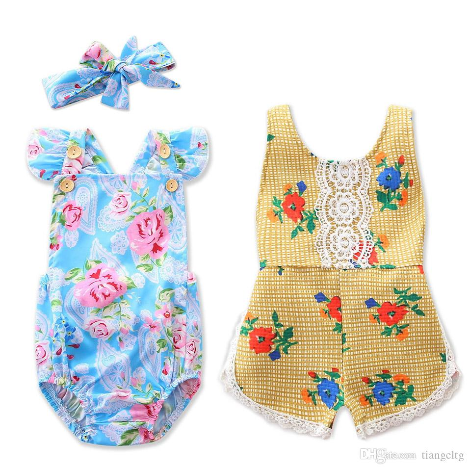 28919ed13a09 2019 Baby Romper Backless Costume Girls Vest Jumpsuit 95% Cotton Summer  Flowers Girls Floral Rompers Lace Hairband 0 24M From Tiangeltg