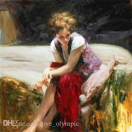 "Framed, Wholesale, ""Pino Daeni ""Hand-painted Portrait Art Oil Painting On Thick Canvas Wall Decoration Multi sizes , p25#"