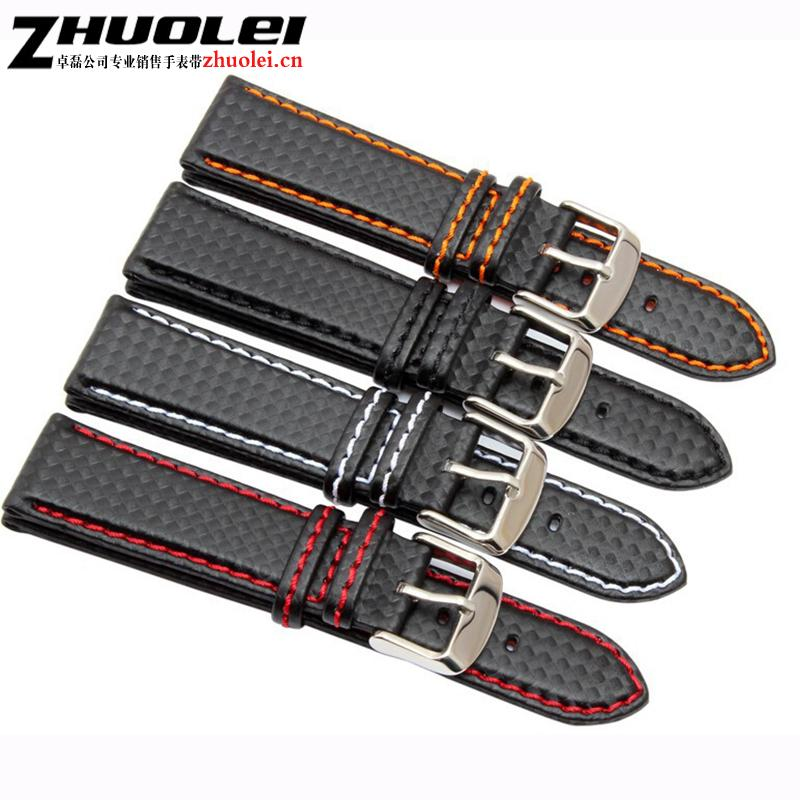 b83a2ebcf40 18mm 20mm 22mm 24mm Mens Watch Band Carbon Fibre Watch Strap With Red  Stitched + Leather Lining Stainless Steel Clasp Watchband Invicta Watch Band  ...
