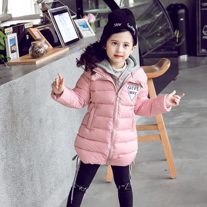1f38c2096 Compre Vestido Largo De Invierno Para Niñas Grandes Abrigos Grandes Para Niñas  Abrigos Negros Rosados Chaquetas Y Abrigos Para Niñas Pequeñas 2018 4 10 12  ...