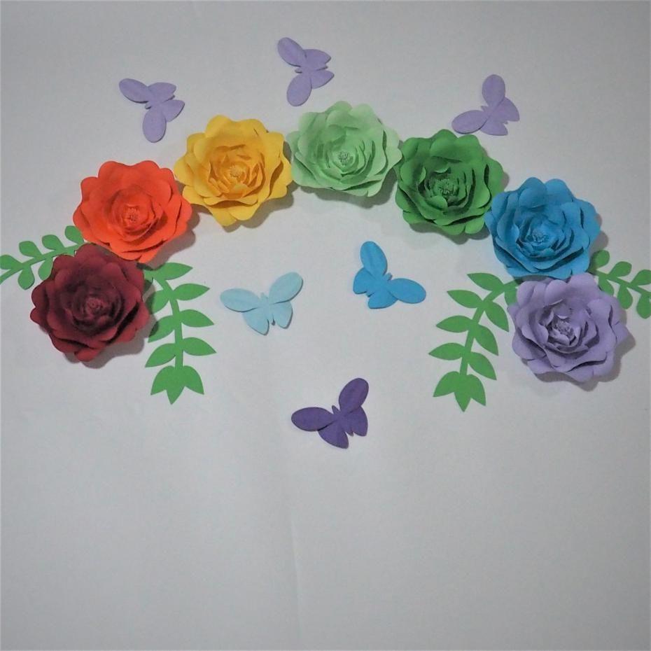 Set Of 7 Giant Paper Flowers4 Leaves 6 Butterflie For Showcase