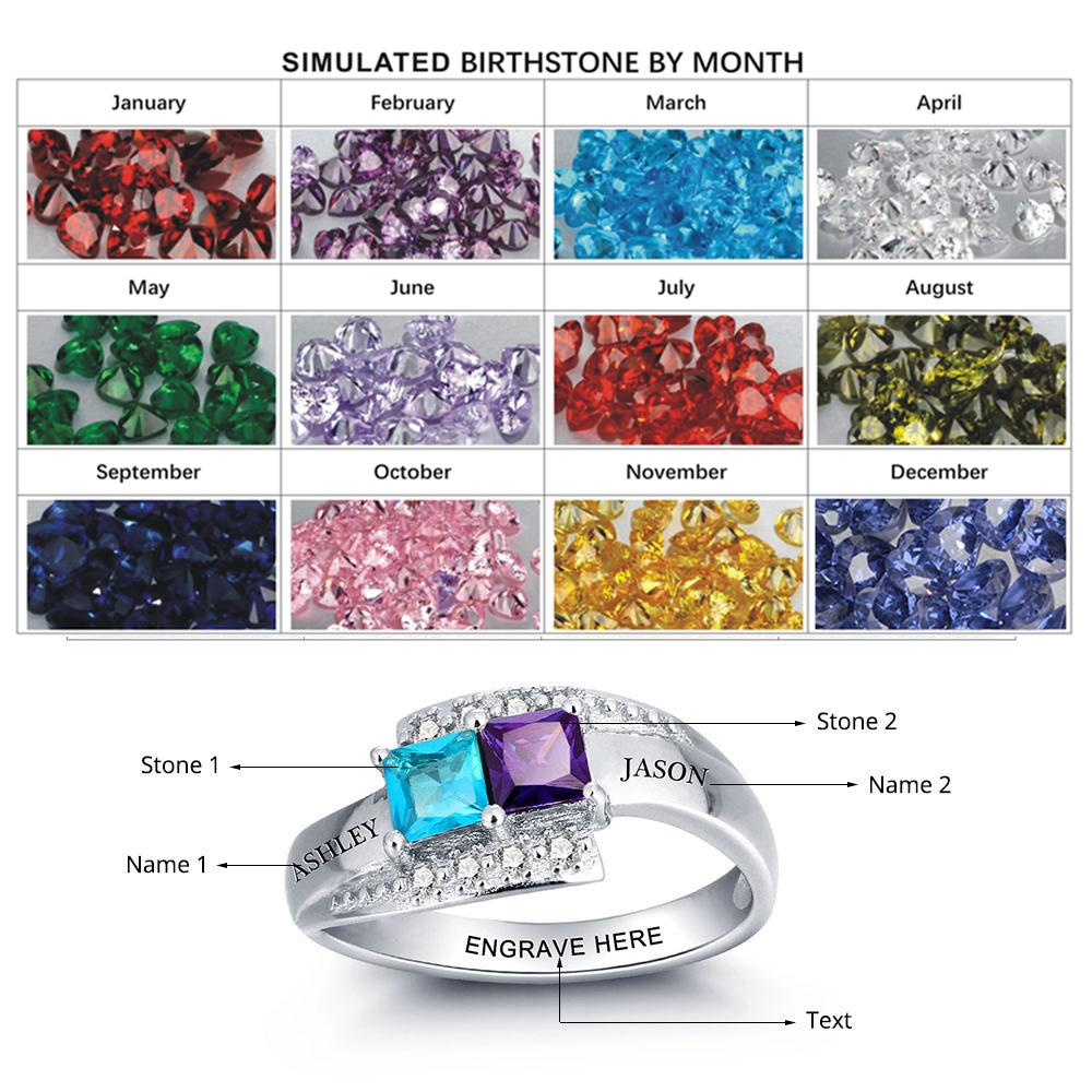 Ame Ring Personalized Birthstone Promise 925 Names Rings Couple in ...