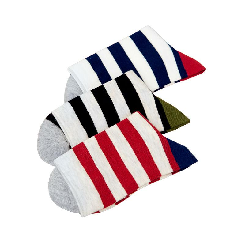 5 Colors Happy Cotton Men's Stripe Socks Casual Autumn And Winter Warm Meia Masculina Harajuku Striped Classical Socks For Men