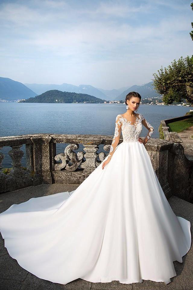 Milla Nova Sheer Long Sleeve Wedding Dresses 2020 Buttons Back Lace Appliques Satin Ball Gown Bridal Gowns Beach Wedding Gowns ba4502
