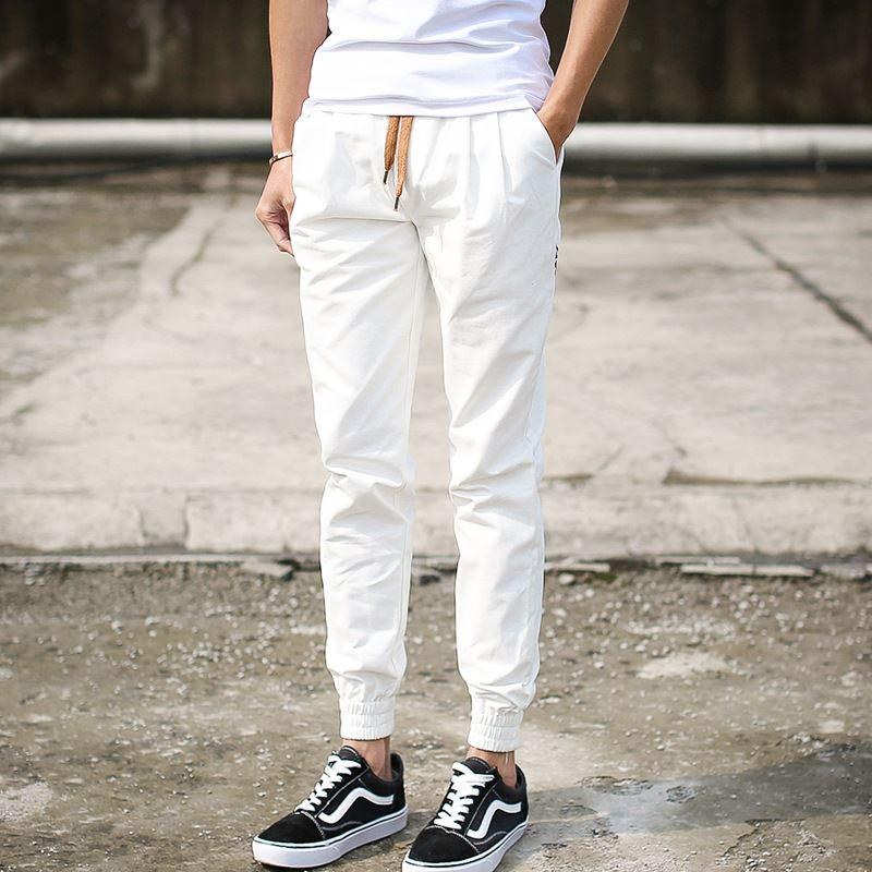 new style e6a92 90fba Summer Mens White Joggers Pants Male Casual Solid Khaki Skinny Long Harem  Hip Hop Trousers Man Cotton Cuffed Pants M 3XL Canada 2019 From Herish, ...