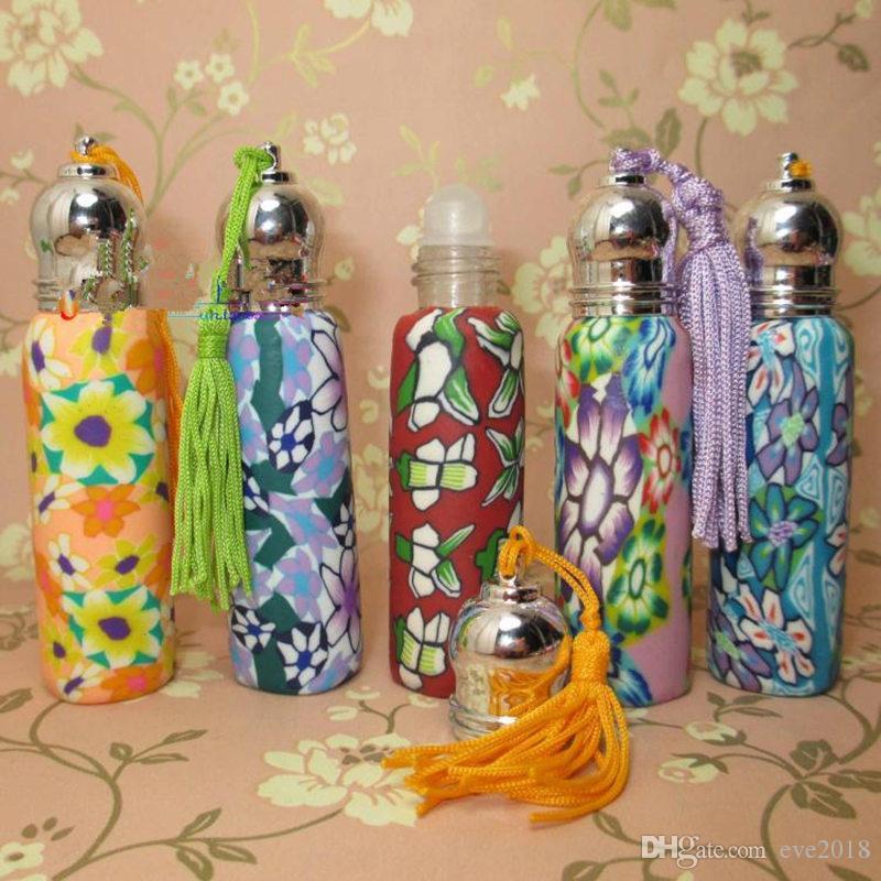 Alta qualidade 10 ml cabeça de metal talão de polímero de argila frascos de perfume vazio bola de rolo garrafa Carro Pingente LX1161