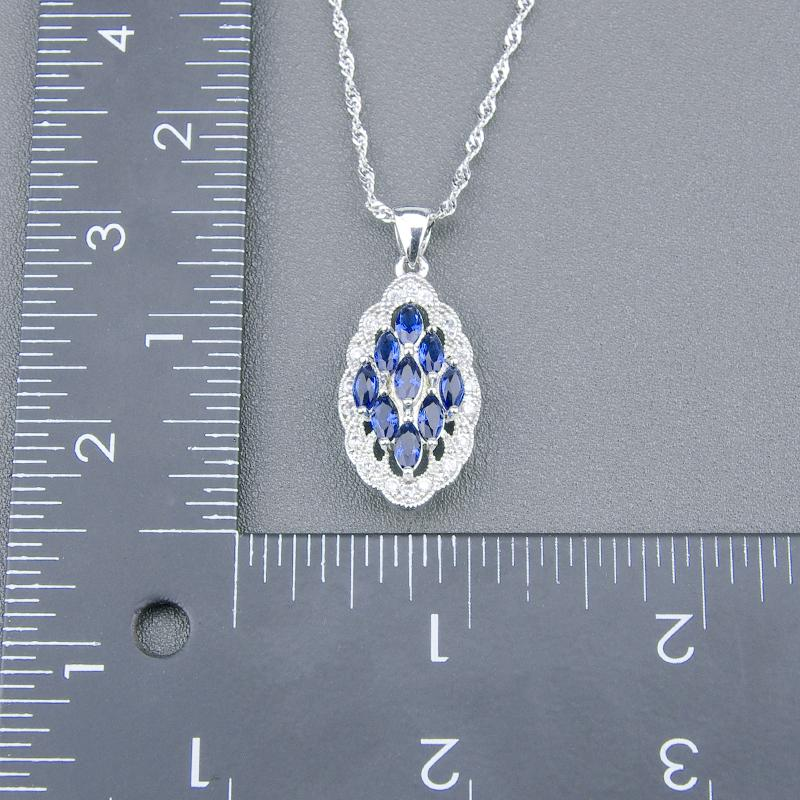 Christmas Gifts 925 Sterling Silver Luxury Blue Cubic Zirconia Jewelry Sets For Women Bracelets Necklace Pendant Ring Earrings