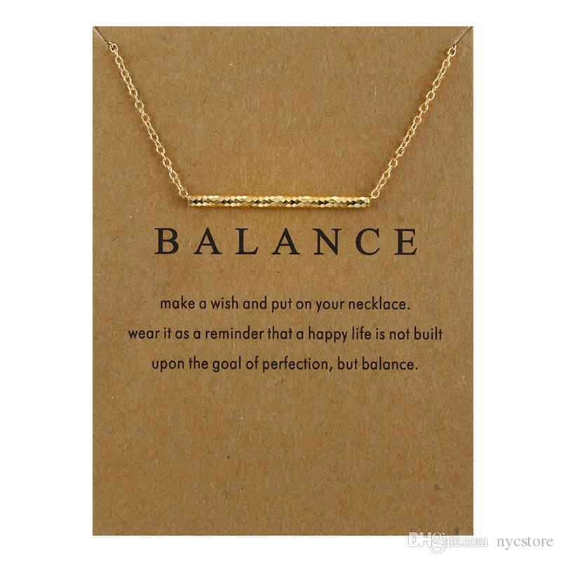 New Design Balance Wood Straight Bar Charm Necklace Gold & Silver Plated Chain Snake Bone Pendant Necklaces Women Fine Jewelry