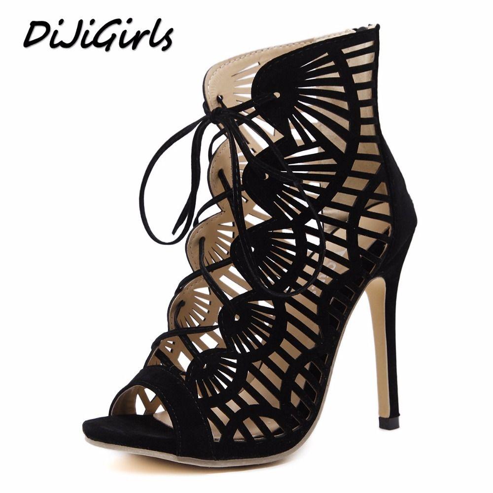 e5ba4bdb2 DiJiGilrs Women Gladiator Sandals Peep Toe High Heels Shoes Woman Cross  Strap Ladies Stiletto Fashion Cut Outs Rome Shoes Black Summer Sandals Men  Sandals ...
