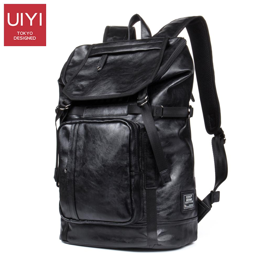ada30748623e UIYI PU Leather Men Backpack Black Zipper Shoulder Back Bag Fashion ...