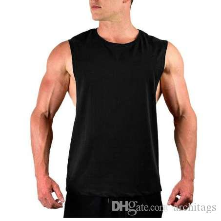 8b62b402 Men's Cut Out Sleeveless shirt Gyms Stringer vest Blank Workout T-Shirt  Muscle Tee Bodybuilding Tank Top Fitness Clothing